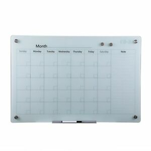 Magnetic Dry Erase Board Frameless Glass Whiteboard Note Memo Eraser Wall Board