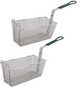 Culinary Depot Fryer Basket Set Of 2 13 1 4 X 6 1 2 with Plastic Green Handle