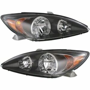 Halogen Headlight Set For 2002 2004 Toyota Camry Left Right W Bulbs Pair