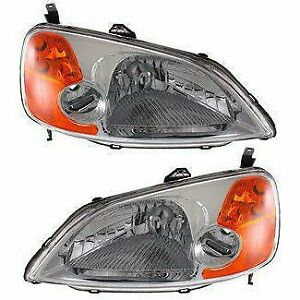 Halogen Headlight Set For 2001 2003 Honda Civic Sedan Models Left