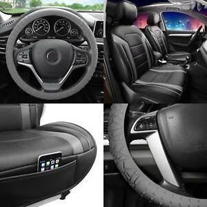 Faux Leather Seat Covers Cushion Pad Front Bucket Gray Steering Cover