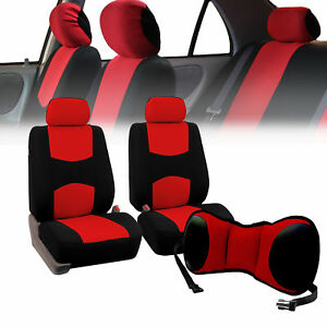 Front Bucket Seat Covers Red With Seat Back Cushion Pad Red For Auto Car Suv Van