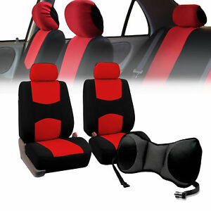 Front Bucket Seat Covers Red With Seat Back Cushion Pad Gray For Auto Suv Van