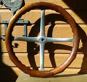17 Vintage Wood Steering Wheel 1917 1930 Ford Chevy Dodge Boat Locomobile