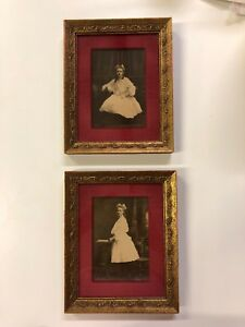 Lot Two Vintage Wood Frame Antique Etching Photo Of Young Age Woman