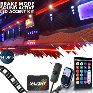 14 Strip Led Remote Custom Accent Neon Glow Light Kit For Rv limo party Bus