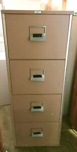 Victor 4 Drawer Vertical Fireproof File Cabinet Tan 2 Available