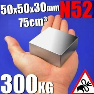Large Block Neodymium Magnets N52 50x50x30mm Strong Rare Earth Lifting Magnets