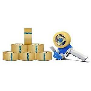 Clear Shipping Packing Tape 2 inch X 110 Yards 6 Rolls 2 5 Mil With Dispenser