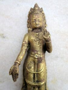 Antique Old Rare Indian Fine Hand Carved Brass Hindu Goddess Deity Figure Statue