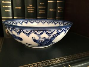 Asian Porcelain Bowls Set Of 2 Blue And White