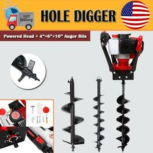 Auger 52cc Post Hole Digger Gas Powered Auger Borer Fence Ground Drill W 3 Bits