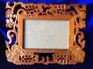 Vintage Carved Wood Picture Frame Hawaii Word In Frame Of Flowers