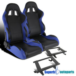 79 98 Ford Mustang Blue black Pvc Leather Reclinable Racing Seats steel Brackets