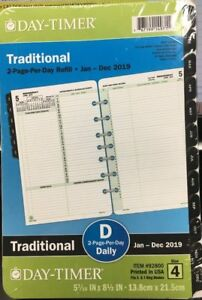 Daily Planner Refill Day timer 2019 2 Page day Traditional Item 92800 Size 4