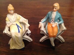 Vintage Porcelain Victorian Couple Figurines In Chairs Handpainted Lace Detail