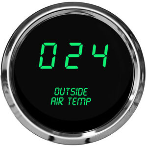 Universal Outside Air Temperature Gauge Green Leds Chrome Bezel Made In The Usa