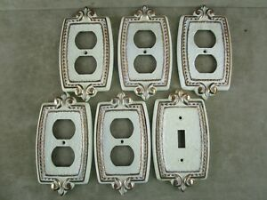 Vintage 5 Outlet 1 Lightswitch Cover Plate Brass Gold White Ornate Design Sa