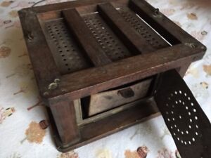 Antique Foot Warmer Punched Tin Hardwood Box 9 1 2 X 8 1 2 X 6