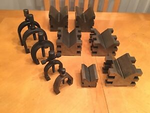 Vintage Machinist Tool V Block clamps 11 Pc Lot