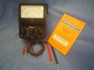 Vintage Simpson Model 260 Series 6 Multimeter Test Leads Manual Volt Ohm Meter
