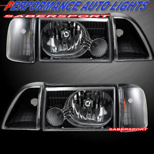 Set Of Black Headlights W Corner And Parking Lights For 1987 1993 Ford Mustang