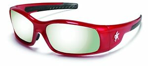 Crews Sr137 Swagger Safety Glasses Red Frame W silver Mirror Lens 12 Pair