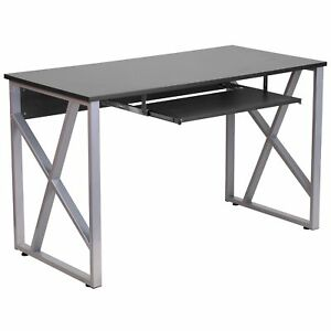 Ladigo Black Wood metal Computer Desk With Pull Out Keyboard Tray