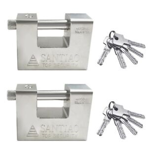 2x Top Security Shipping Container Garage Trailer Padlock Heavy Duty Solid Steel