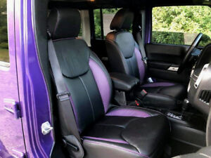 Katzkin Blk Purple Repla Leather Seat Cvrs Fits 2013 2018 Jeep Wrangler Jk 4dr