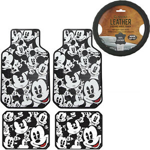5pc Set Mickey Mouse Car Truck Front Rear Vinyl Floor Mats Steering Wheel Cover