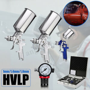 3 Hvlp Air Spray Gun Kit Auto Paint Car Primer Detail Basecoat Clearcoat W Case