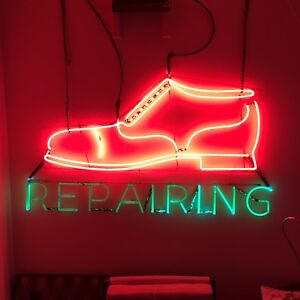 Rare Vintage Shoe Repair Neon Sign Original W Franceformer
