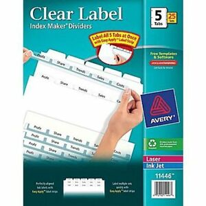 Avery Index Maker Clear Label Tab Dividers 5 tab White 25 Sets box