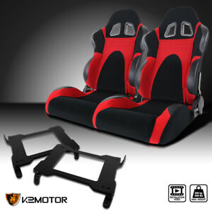 Fit 2005 2014 Mustang Gt V6 Gt500 Black red Faux Suede Racing Seats brackets