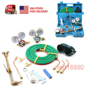 Portable Gas Welding Cutting Kit Oxy Acetylene Oxygen Torch Brazing Tool Set