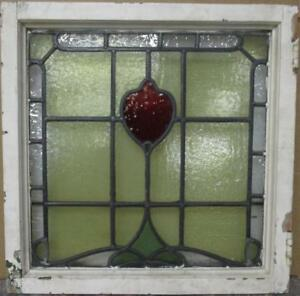 Old English Leaded Stained Glass Window Bordered Abstract Design 21 75 X 22