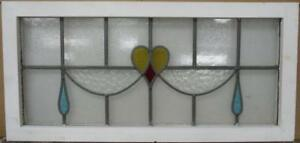 Old English Leaded Stained Glass Window Transom Nice Heart Drops 34 5 X 16 5