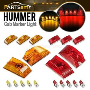10xamber red Roof Cab Marker Lights W 5050 Led Bulbs For 03 09 Hummer H2 Suv Sut