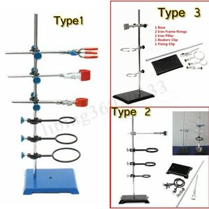 3 Type Laboratory Stands Support Ring Lab Clamp Condenser Flask Beakers Clip Kit