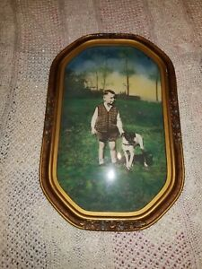 Antique Vintage Convex Bubble Glass Boy His Dog Picture Frame Vintage