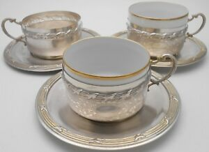 Egyptian 900 Solid Silver 327g Tea Cups Saucers Vintage 1932