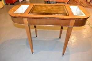 Vintage Mahogany Leather Top Plant Stand Hall Foyer Sofa Table
