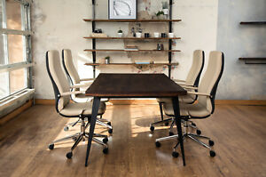 Industrial Or Minimalist Style Solid Wood Table Desk With Steel Metal Legs