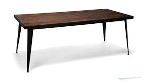 Industrial Minimalist Style Conference Table Has Steel Metal Legs Solid Wood Top