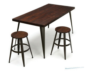 Table Desk And Stools Set Solid Wood Top Steel Metal Legs Industrial Minimalist