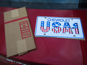 Vintage Nos Chevrolet Usa 1 Small Hole Dealership License Plate Gm Chevelle Ss