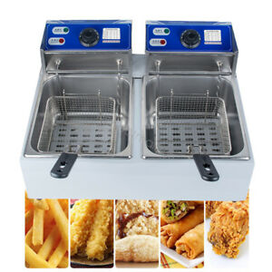 11l Electric Deep Fryer Commercial Tabletop Restaurant Fry 2 Basket Scoop Unit