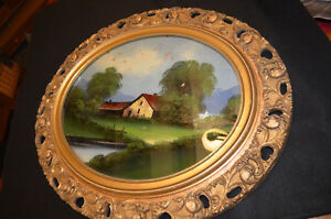 Vintage Oval Reverse Painting On Glass Ornate Frame Cottage Scene