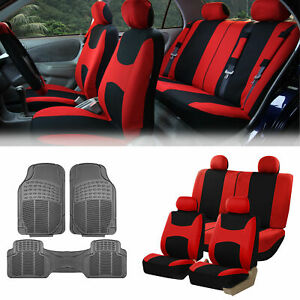 Red Black Car Seat Covers Full Set For Auto W 4 Headrests Rubber Floor Mat